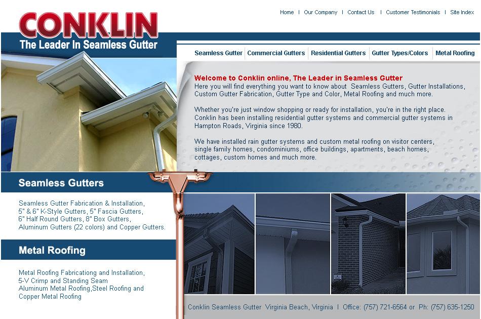 Conklin Gutters Web Design Concepts